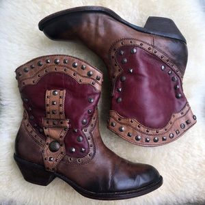 Vince Camuto studded western short ankle boots